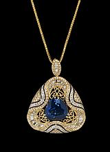 18 Kt. Tanzanite and Diamond Pendant with Chain