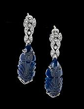 Pair of 14 Kt. Gold Sapphire and Diamond Earrings