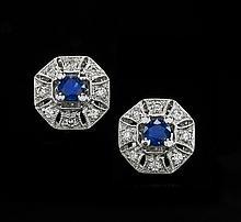 Pair of Platinum, Sapphire and Diamond Earrings