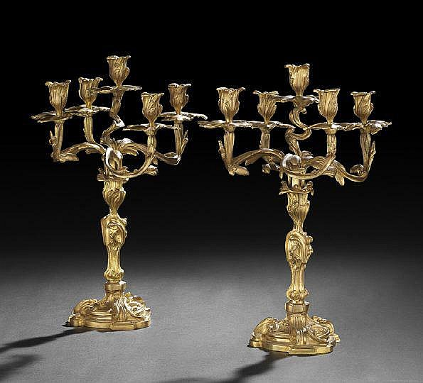 Pair of French Gilt-Bronze Five-Light Candelabra