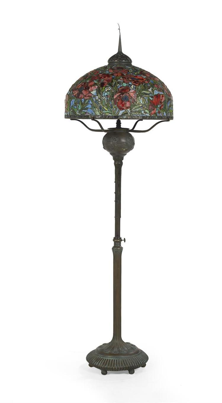large tiffany style leaded glass floor lamp With large tiffany style floor lamp