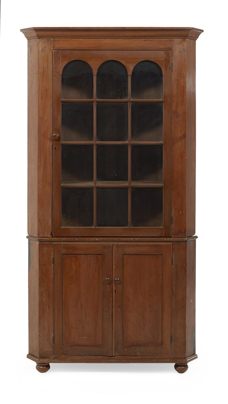American Federal Cherry Stained Poplar Corner Cabinet