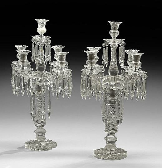 Pair of Victorian Five-Light Cut-Glass Candelabra