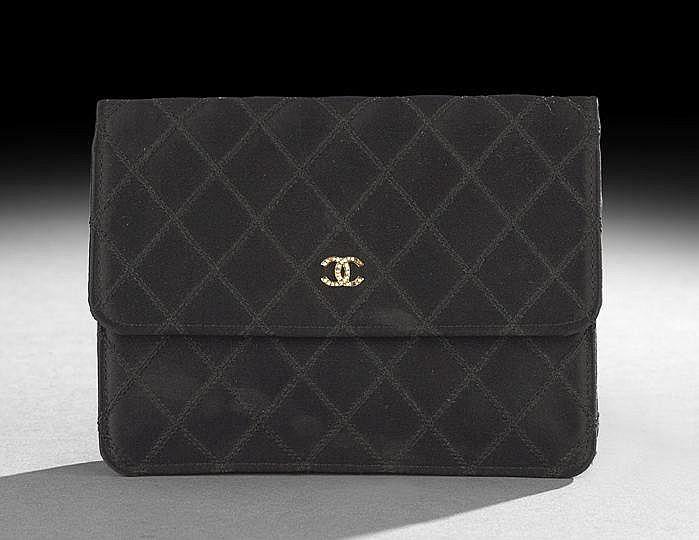 Chanel Black Diamond-Stitched Silk Satin Clutch