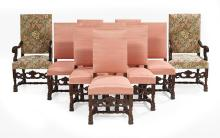 Suite of Ten Baroque-Style Carved Walnut Dining Chairs