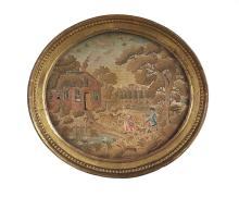 English Embroidery of a Pastoral Scene of a Red-Brick Cottage by a Pond with Figures
