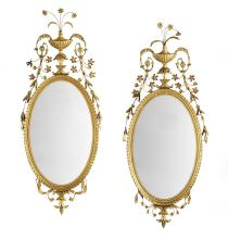 Pair of Handsome Giltwood Oval Mirrors