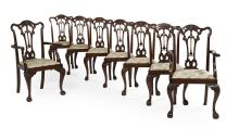 Suite of Eight George III-Style Oak Dining Chairs