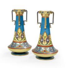 Unusual Pair of Stoneware Vases
