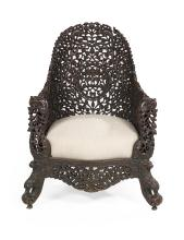 Asian Carved Rosewood Gondola Chair