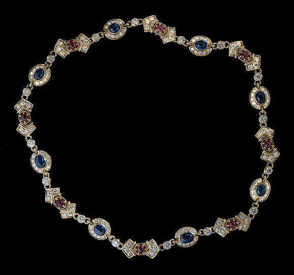 Harry Winston-Style Sapphire and Ruby Necklace