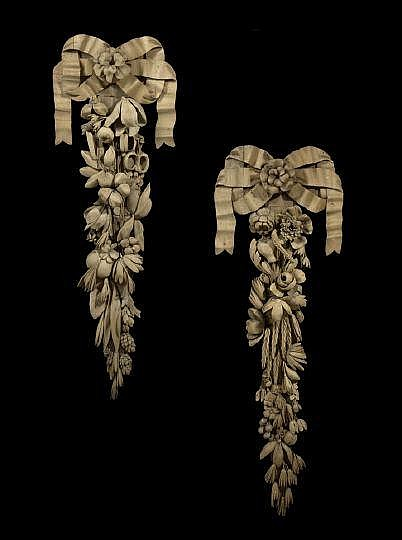 Pair English Carved Oak Architectural Ornaments, late 18th century, each with a bow crest above a backplate of an elaborately carved fruit and floral garland, in the manner of Grinling Gibbons (English, 1648-1721), h. 43-1/2