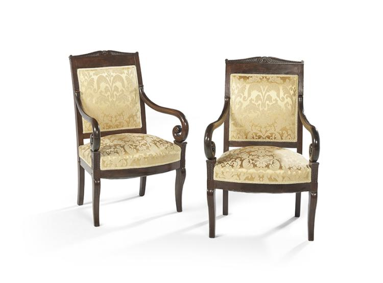 pair of louis philippe mahogany fauteuils