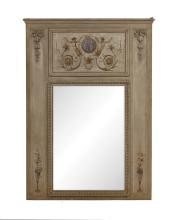 Directoire-Style Painted Trumeau Mirror