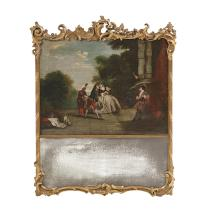 French Louis XV-Style Giltwood Trumeau Mirror