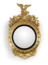 Regency Revival Giltwood Convex Mirror