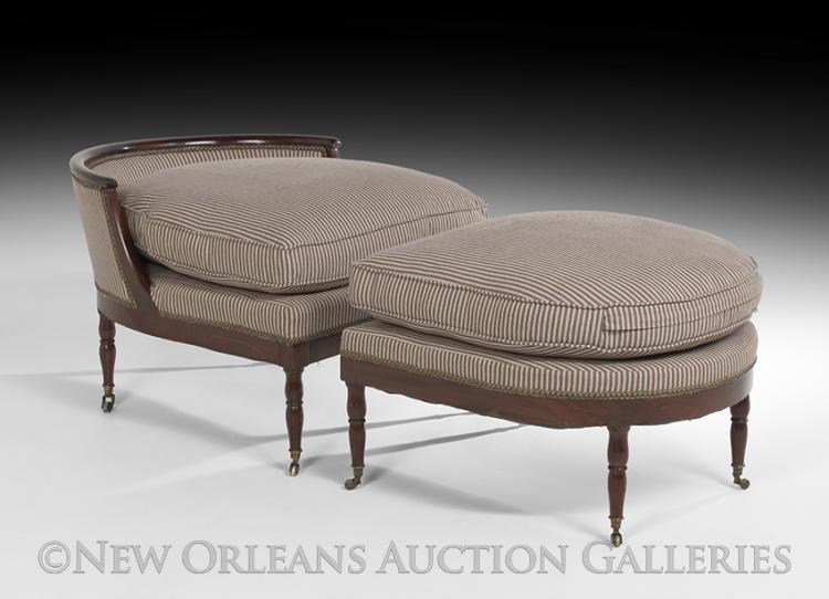 Unusual louis philippe mahogany chaise longue for Chaise louis philippe ancienne