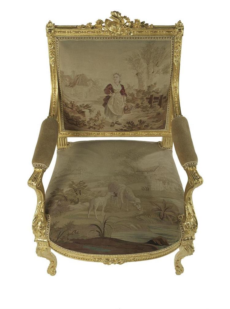 louis xv xvi style giltwood fauteuil