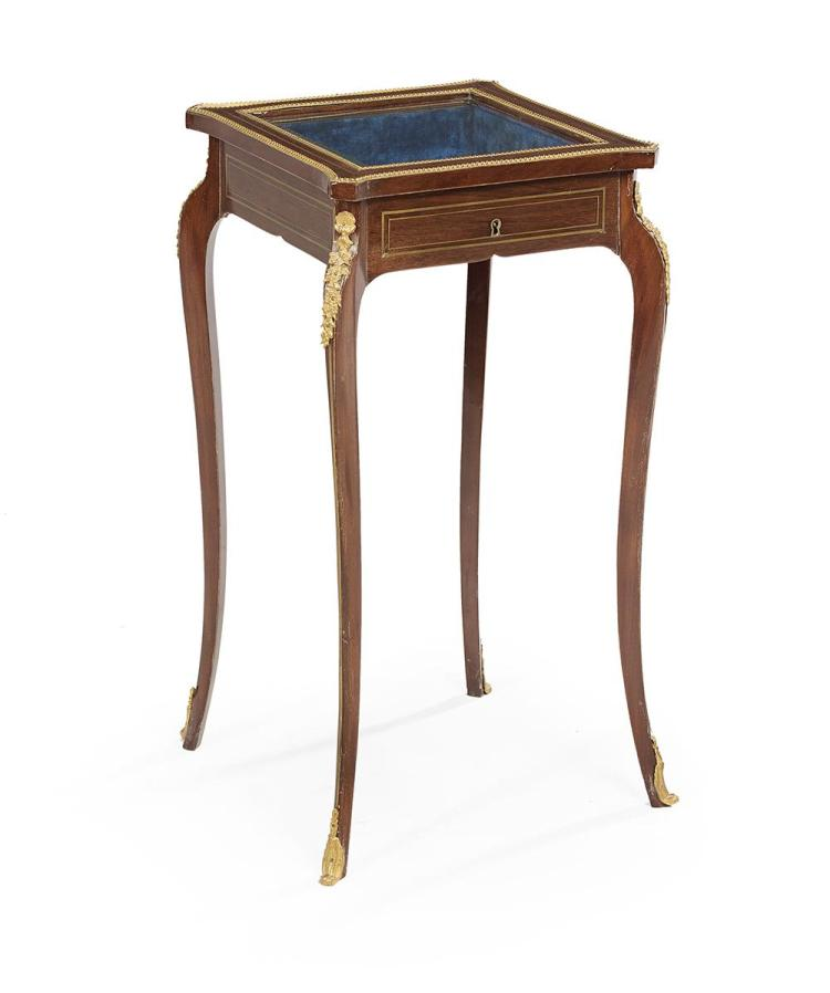 Louis xv style kingwood vitrine table for Table vitrine
