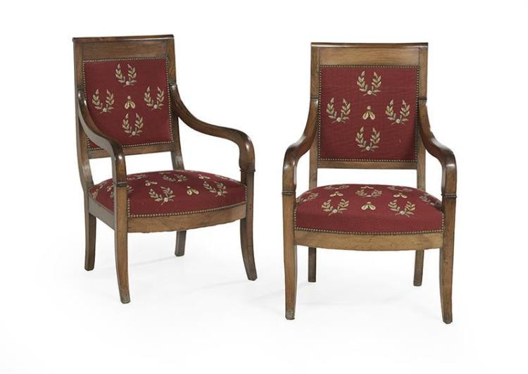 pair of restauration style mahogany fauteuils. Black Bedroom Furniture Sets. Home Design Ideas