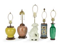 Collection of Five Chinese Ceramic Lamps