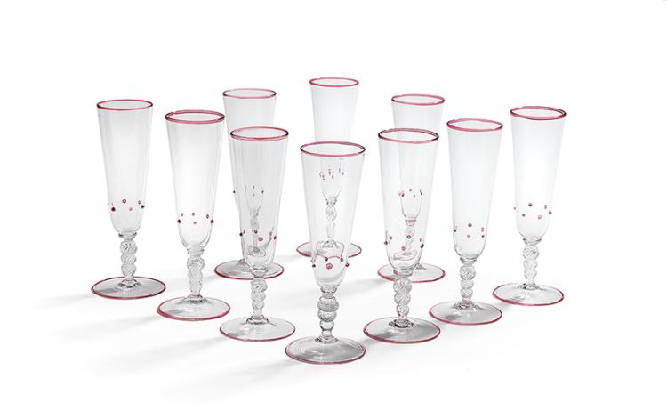 Ten italian hand blown glass champagne flutes - Hand blown champagne flutes ...