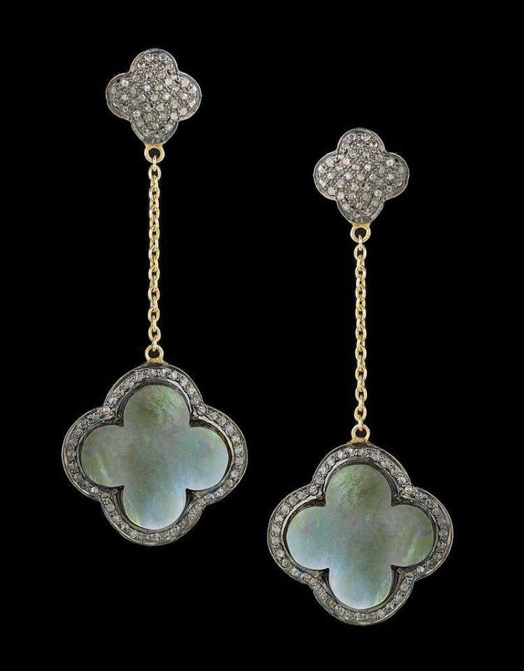 Diamond And Mother Of Pearl Earrings