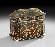 Victorian Tortoiseshell Two-Compartment Tea Caddy