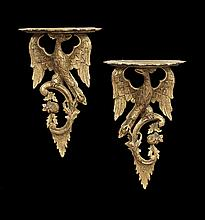 Pair of George II-Style Giltwood Eagle Brackets