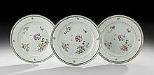 Three Chinese Export Porcelain Dinner Plates