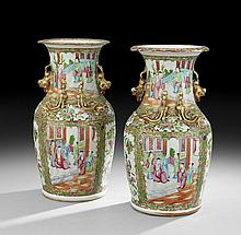 Pair of Chinese Rose Medallion Vases