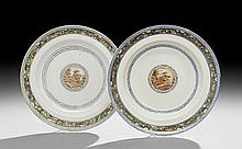 Pair of Chinese Export Soup Plates