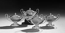 Four George III Sterling Silver Sauce Tureens