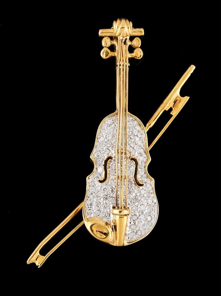 Diamond Violin Brooch