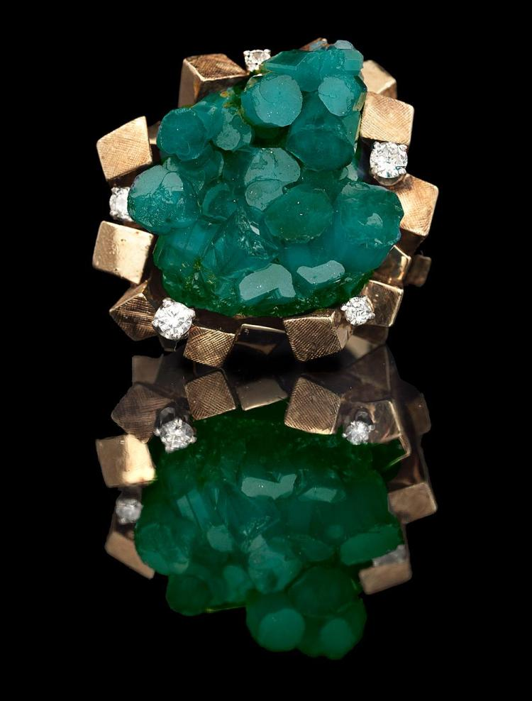 Bold Custom-Made Emerald and Diamond Ring