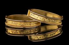 Good Pair of Antique Gold Cuff Bracelets
