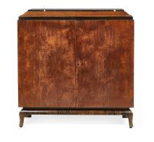 Art Deco Amboyna, Palisander, Burlwood and Marble-Top Cabinet