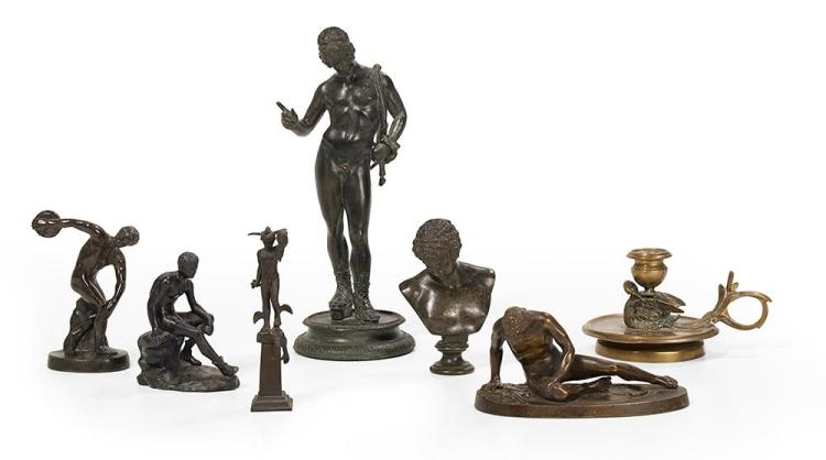 Collection of Seven Neoclassical Bronze and Patinated Metal Sculptures