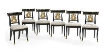 Suite of Six Neoclassical-Style Ebonized and Parcel-Gilt Side Chairs