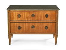 Continental Neoclassical Fruitwood and Marble-Top Commode