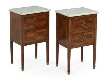 Pair of Continental Neoclassical Kingwood and Marble-Top Commodes