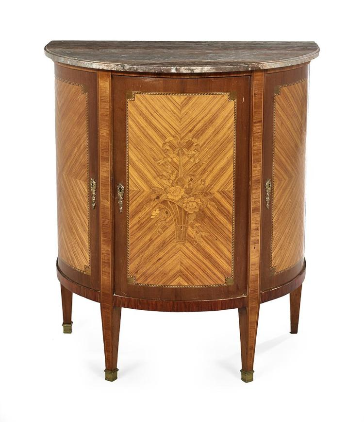 Continental Kingwood and Marble-Top Cabinet