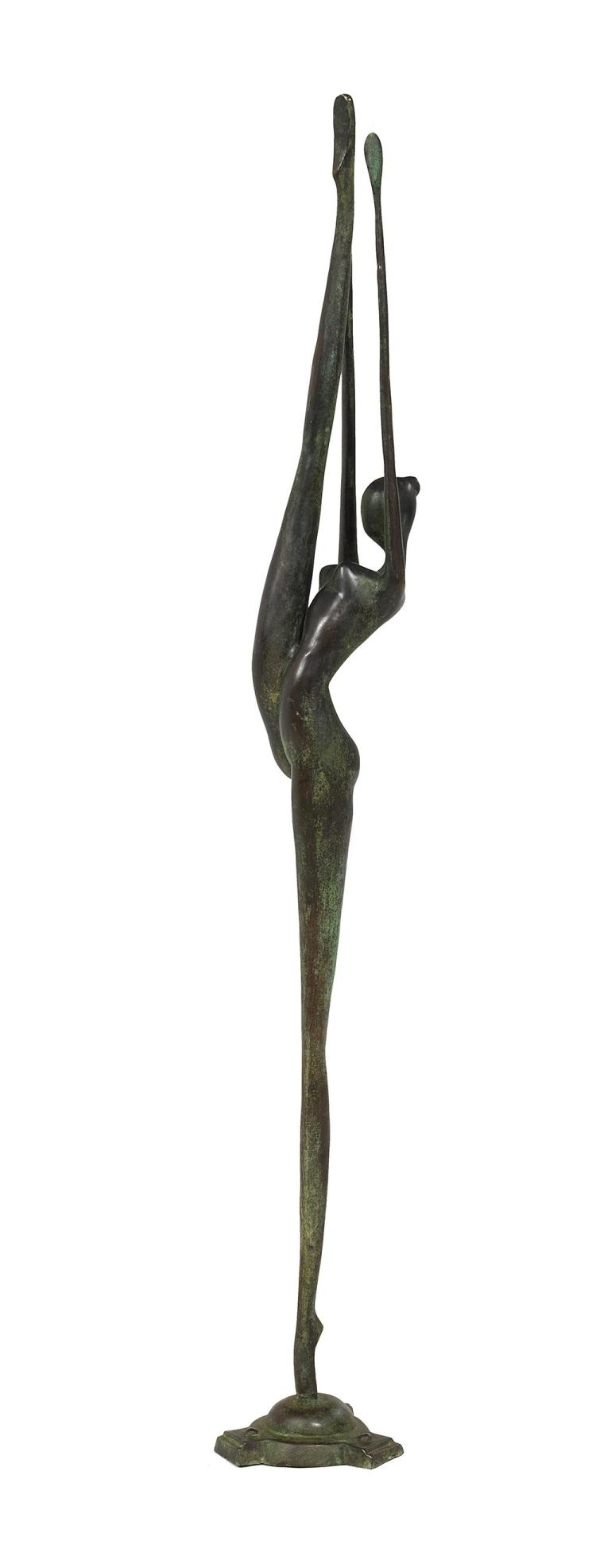 Austrian Art Deco Patinated Bronze of a Female Dancer