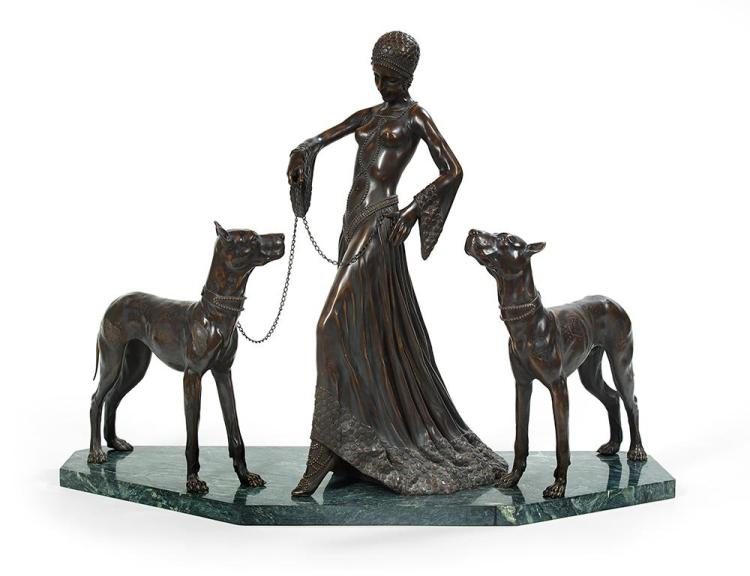 Art Deco-Style Patinated Bronze Figural Grouping of a Fashionable Lady Walking Her Dogs