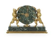 Exceptional E. F. Caldwell Bronze and Marble Mantel Clock