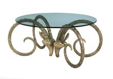 Cast Bronze and Glass Ibex Dining Table
