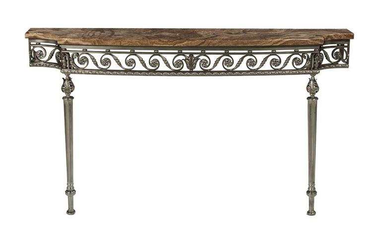 Argente Metal and Onyx-Top Console Table