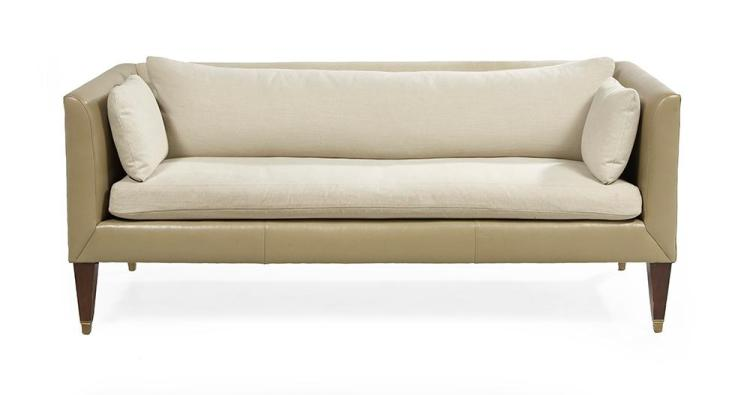 Contemporary Taupe Leather and Linen Sofa