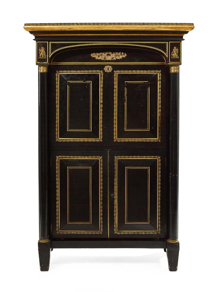 American Late Classical Ebonized and Stenciled Secretaire a Abattant