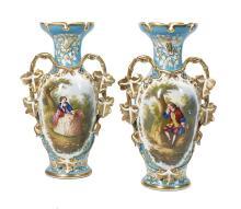 Pair of Hand-Painted Paris Porcelain Mantel Vases